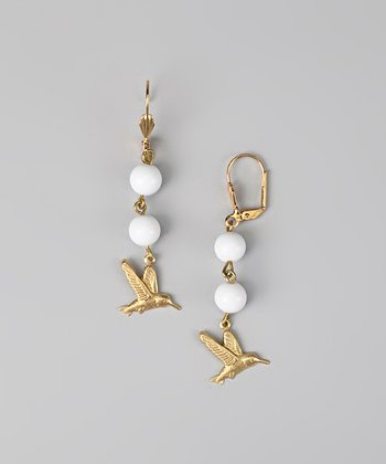Gold & White Hummingbird Earrings