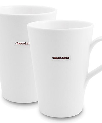 White 'Chocolate' Porcelain Latte Mug - Set of Two