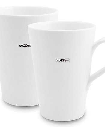 White 'Coffee' Porcelain Latte Mug - Set of Two