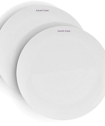 White 'Teatime' Porcelain Tea Plate - Set of Two
