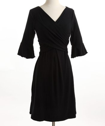 Black Ruffle Nursing Dress