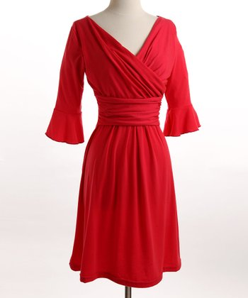 Red Ruffle Nursing Dress