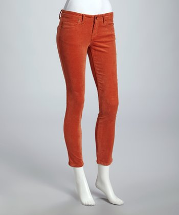 Burnt Orange Corduroy Skinny Pants