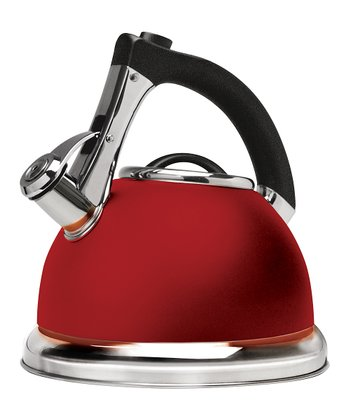 Red Push & Serve Whistling Tea Kettle