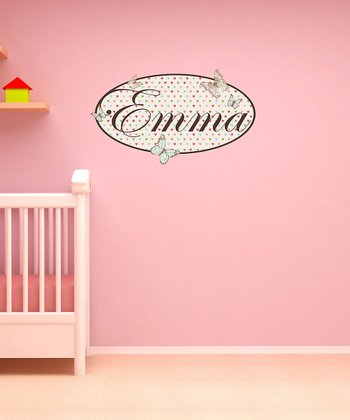 Blue & Pink Butterfly Personalized Wall Decal