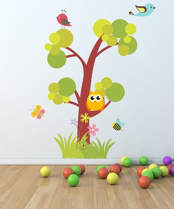 Owl & Birds Tree Wall Decal