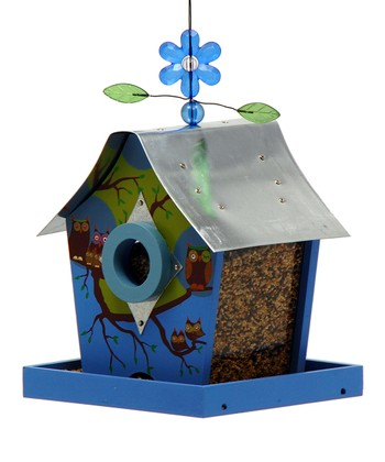 Owl Family Retro Chic Bird Feeder
