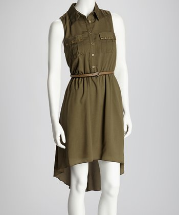 Olive Stud Sleeveless Hi-Low Belted Shirt Dress