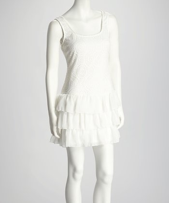 White Crocheted Ruffle Drop-Waist Dress