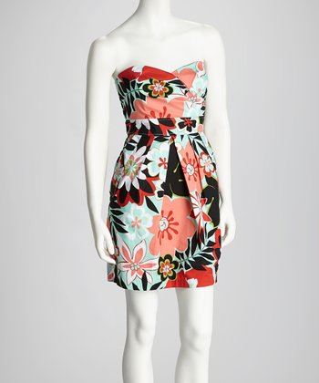 Coral & Mint Floral Pleat Strapless Dress