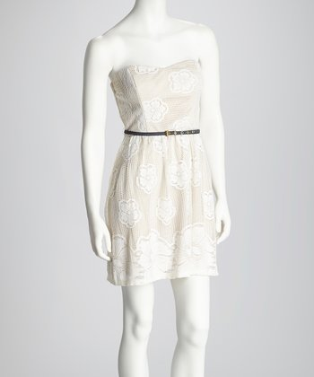 Off-White Crocheted Flower Belted Strapless Dress