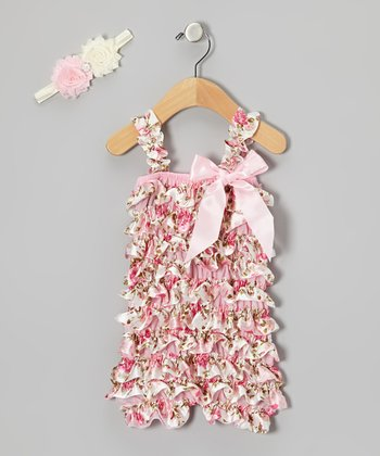 Pink Floral Ruffle Romper & Headband - Infant, Toddler & Girls
