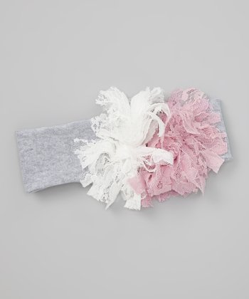 Pink & White Soft Flower Headband