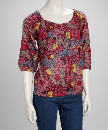 Pink Abstract Blossom Peasant Top