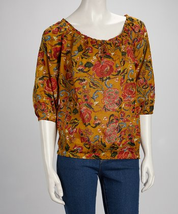 Mustard & Red Garden Peasant Top