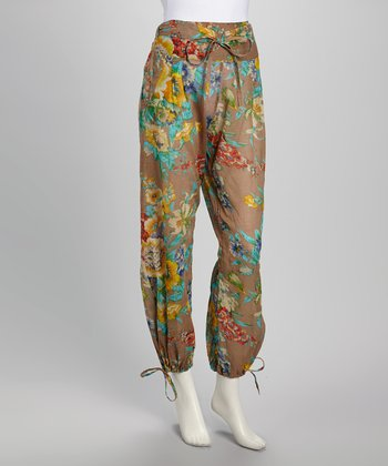 Brown & Teal Garden Bloom Harem Pants - Women