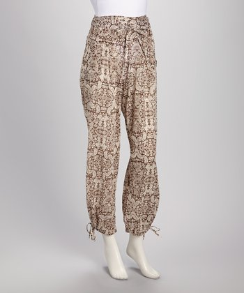 Brown Medallion Harem Pants - Women