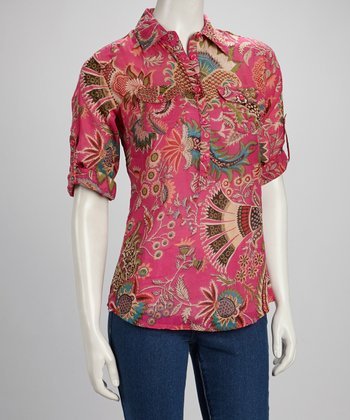 Hot Pink Floral Brocade Half Button-Up Top
