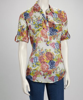 Navy & Orange Rose Half Button-Up Top