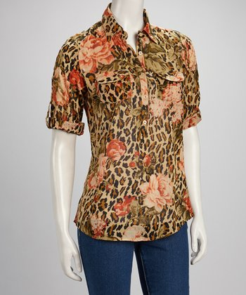 Beige & Pink Leopard Rose Half Button-Up Top