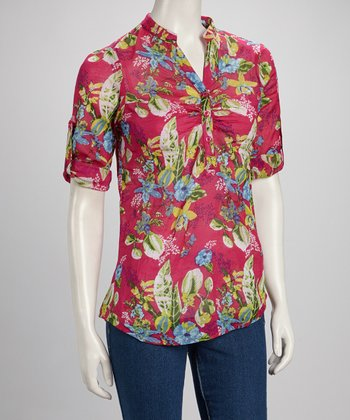 Hot Pink & Green Tropical Mandarin Neck Button Top