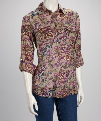 Gray & Maroon Floral Gold Button Pocket Top