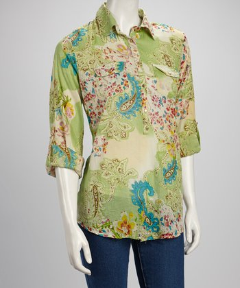 Light Green & Blue Paisley Gold Button Pocket Top