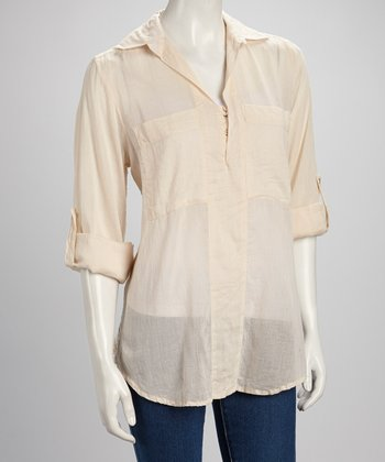 Sand Three Button Top