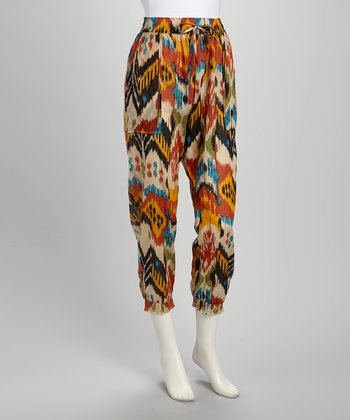 Rust & Blue Tribal Drawstring Harem Pants - Women
