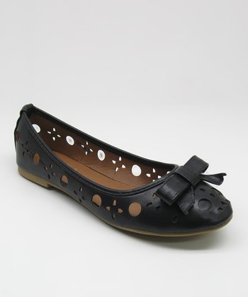 Black Cutout Bow Flat