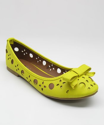 Yellow Cutout Bow Flat
