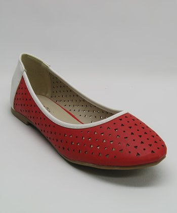 Red & White Perforated Flat