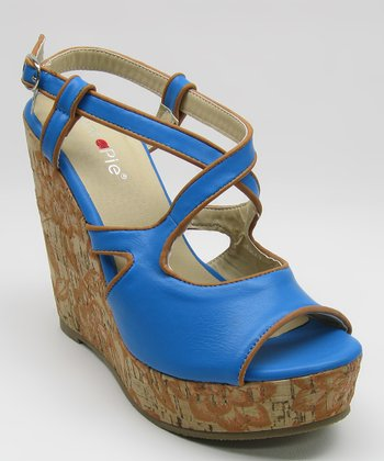 Blue Cork Peep-Toe Wedge