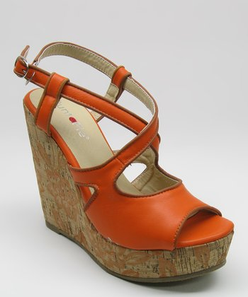 Orange Cork Peep-Toe Wedge