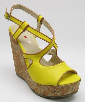 Yellow Cork Peep-Toe Wedge