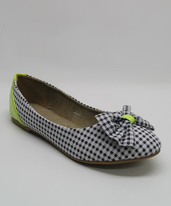 Black Gingham Bow Flat