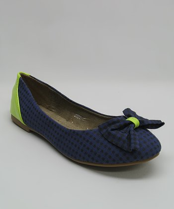 Blue Gingham Bow Flat