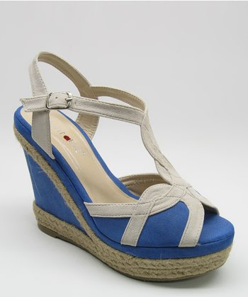 Beige & Blue Espadrille Wedge