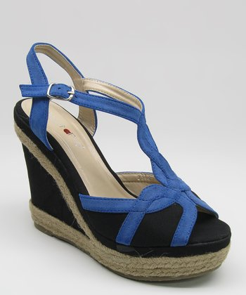 Blue & Black Espadrille Wedge