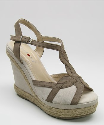 Coffee & Beige Espadrille Wedge