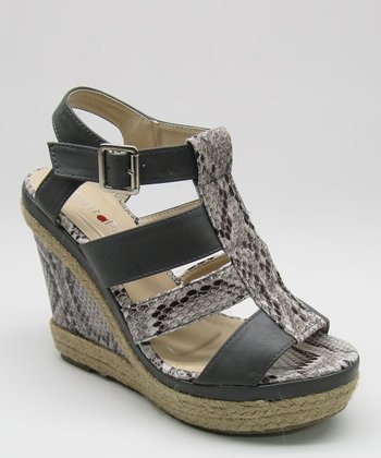 Gray Snakeskin Wedge