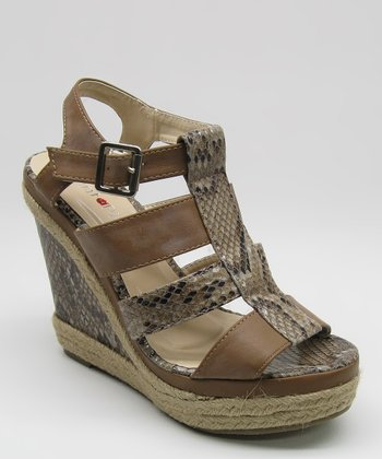 Tan Snakeskin Wedge