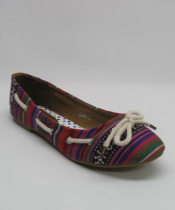 Red Tribal Ballet Flat