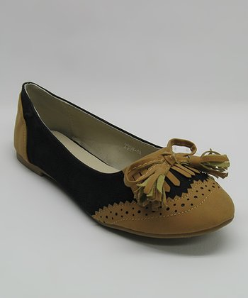 Black Fringe Bow Flat