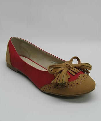 Red Fringe Bow Flat