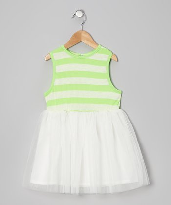 Lime Stripe A-Line Dress - Infant, Toddler & Girls