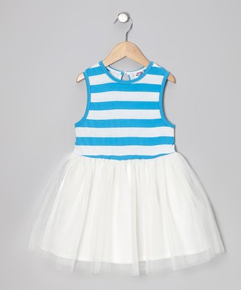 Ocean Blue Stripe A-Line Dress - Infant, Toddler & Girls