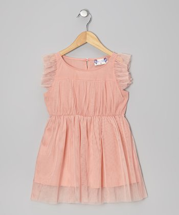 Peach Angel-Sleeve Dress - Infant, Toddler & Girls