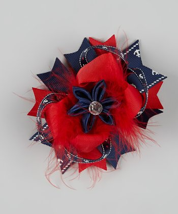 Red & Navy Nautical Feather Bow Clip