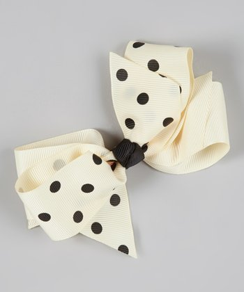 Cream & Black Dot Twist Bow Clip